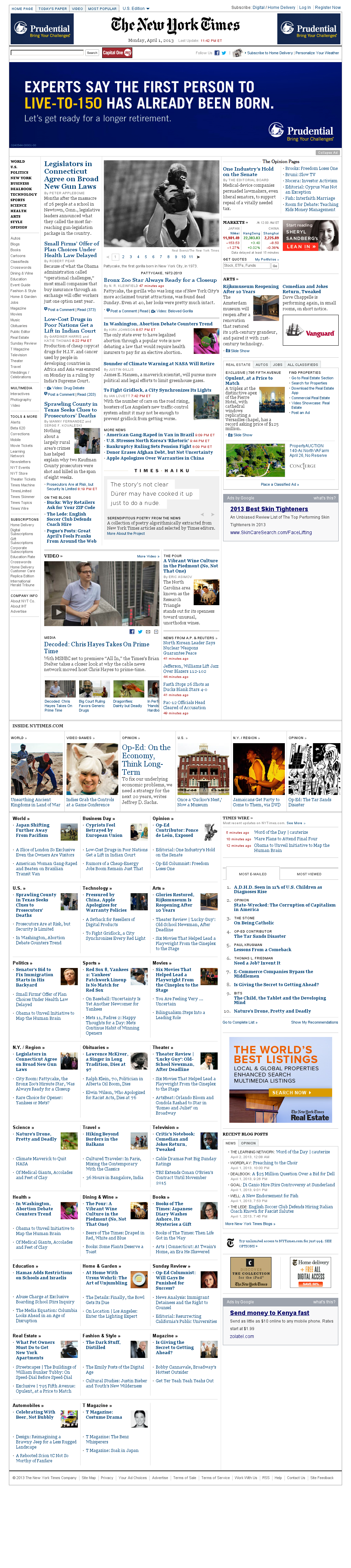 The New York Times at Tuesday April 2, 2013, 4:17 a.m. UTC