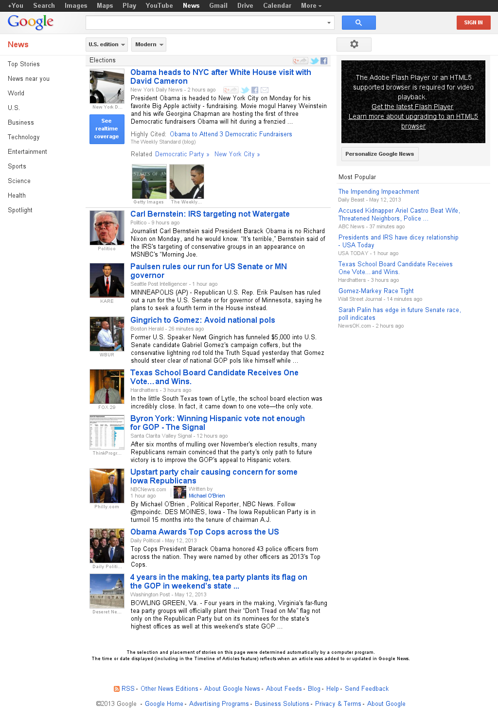 Google News: Elections at Monday May 13, 2013, 9:08 p.m. UTC