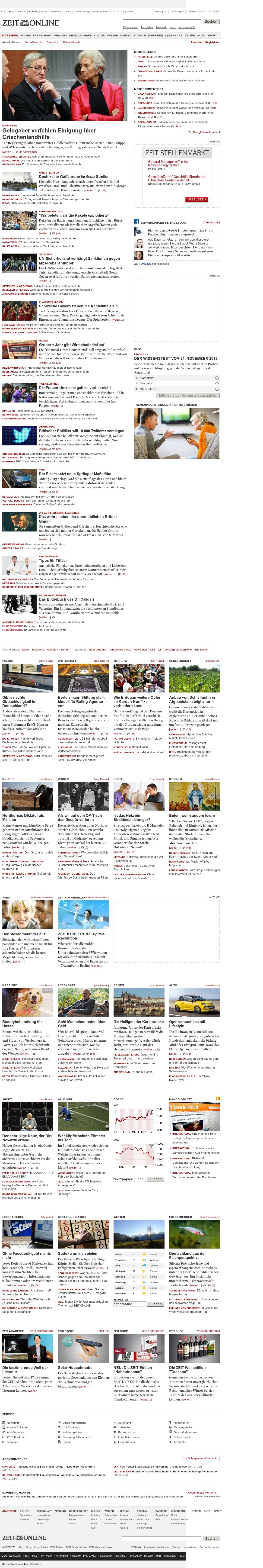 Zeit Online at Wednesday Nov. 21, 2012, 8:33 a.m. UTC